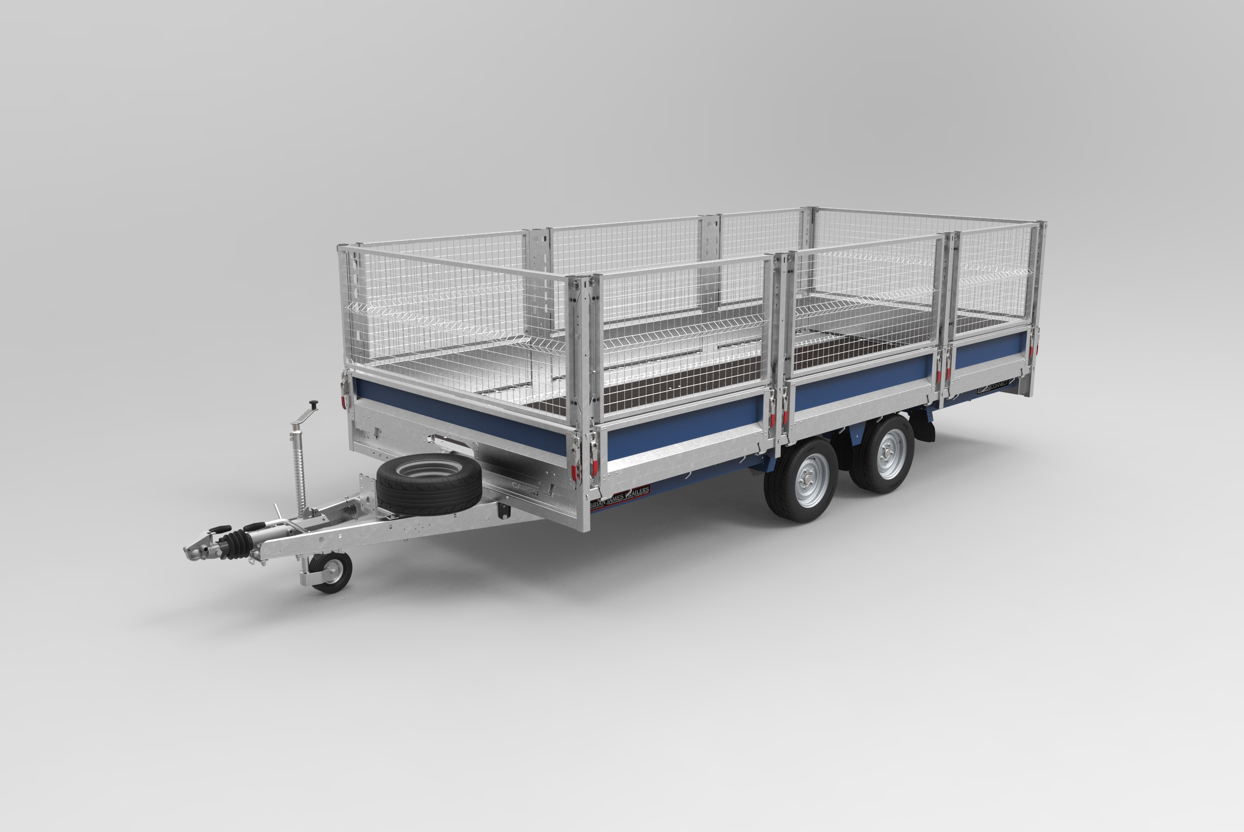CarGo Connect with side mesh flat deck trailer