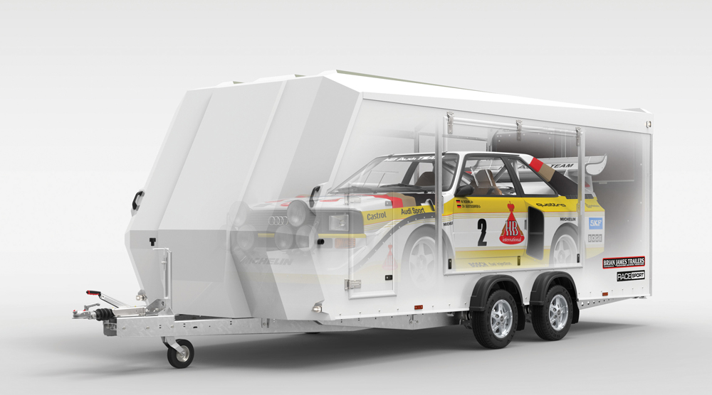 how a race sport car fits in an enclosed trailer