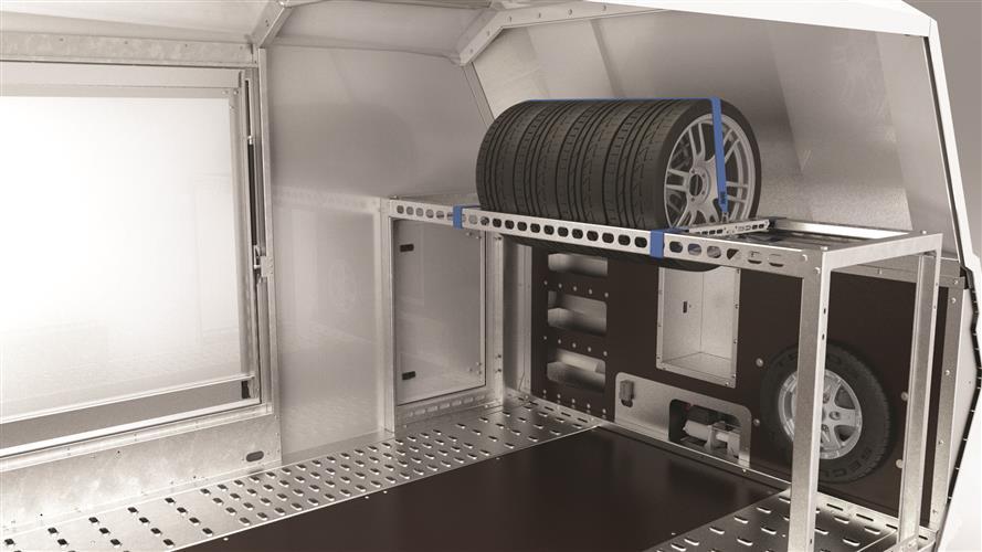 Enclosed trye rack - Brian James Trailers