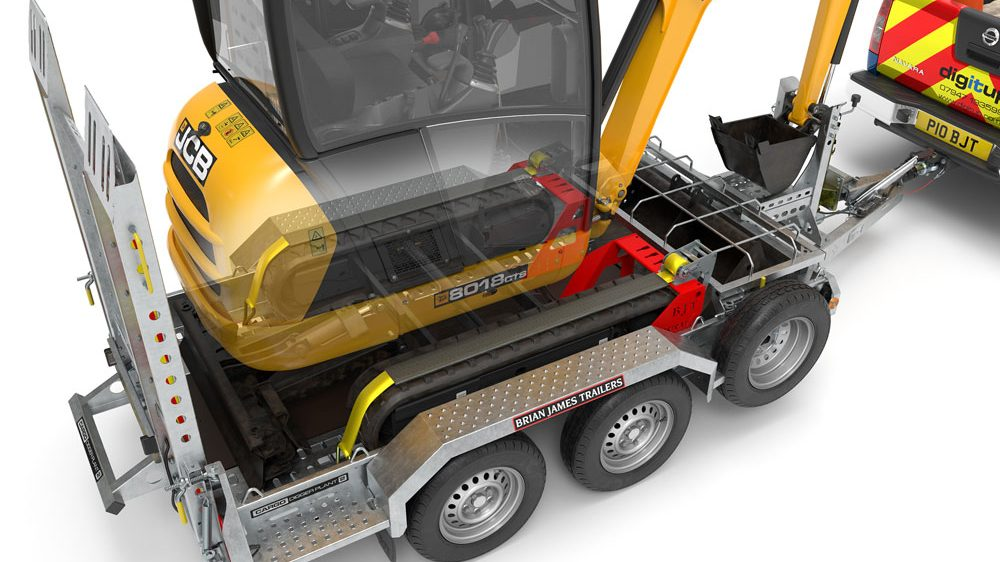 Transporting a JCB digger to a construction site - Brian James
