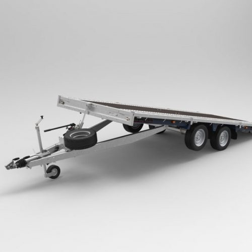 Tilted flat deck trailer